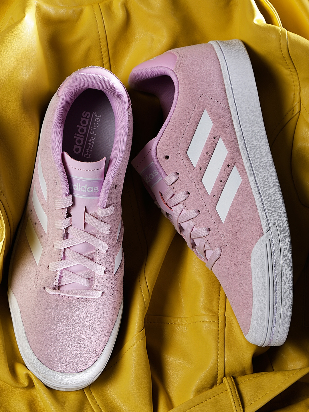 ADIDAS Women Pink Court70S Leather Tennis Shoes