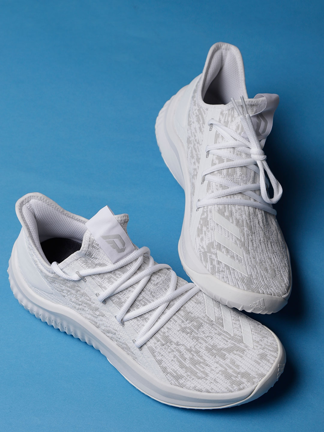 reputable site 1a445 7e4a5 ADIDAS Men White  Grey Dame D.O.L.L.A. Patterned Basketball Shoes