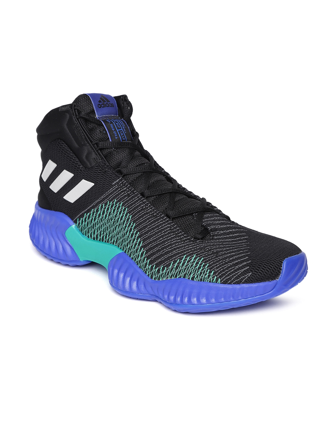 dda98c4a2ee66 Buy ADIDAS Men Black   Blue Pro Bounce 2018 Mid Top Basketball Shoes ...