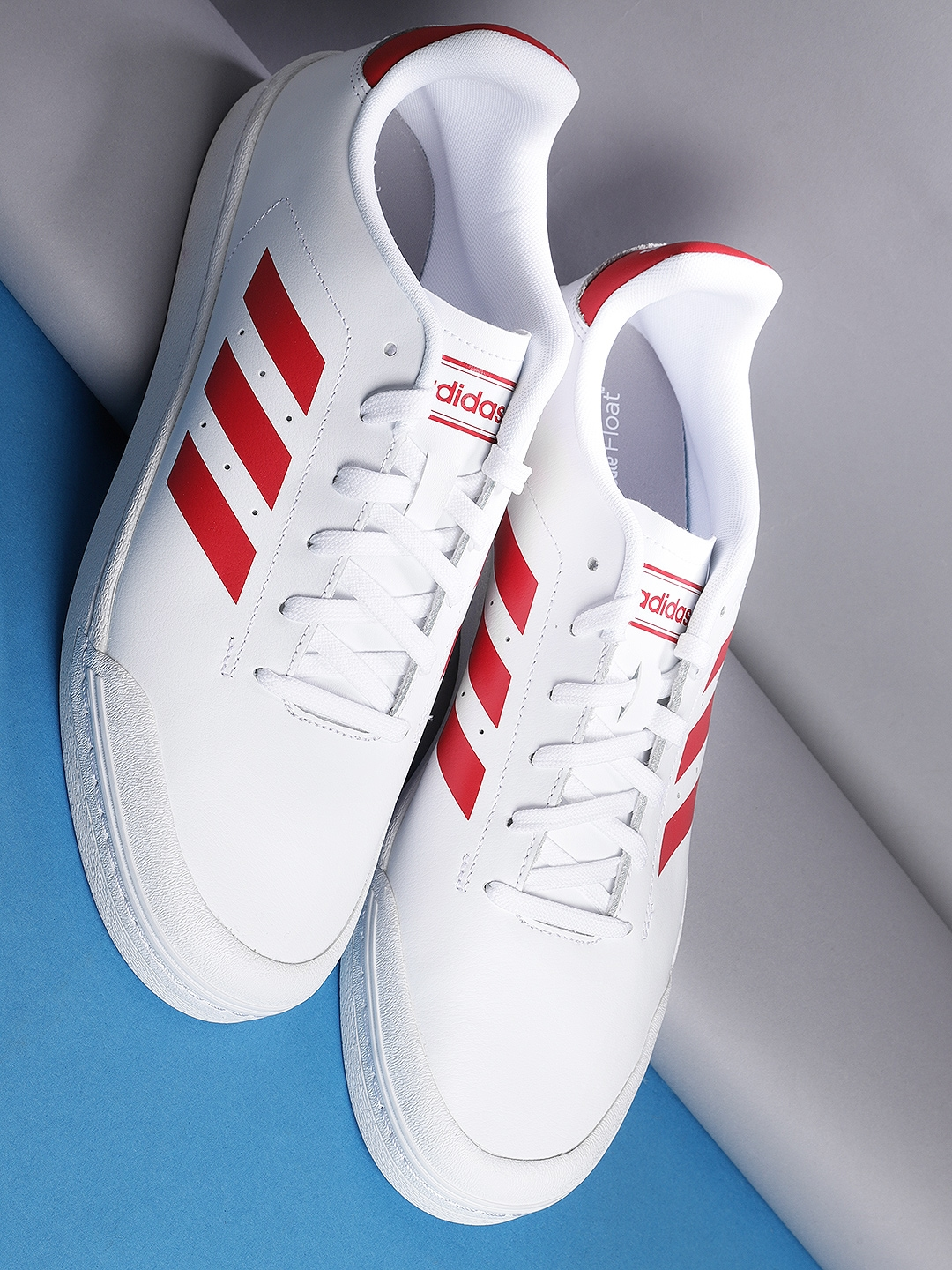 Buy Adidas Men White   Red Court70S Leather Tennis Shoes - Sports ... c690ba747