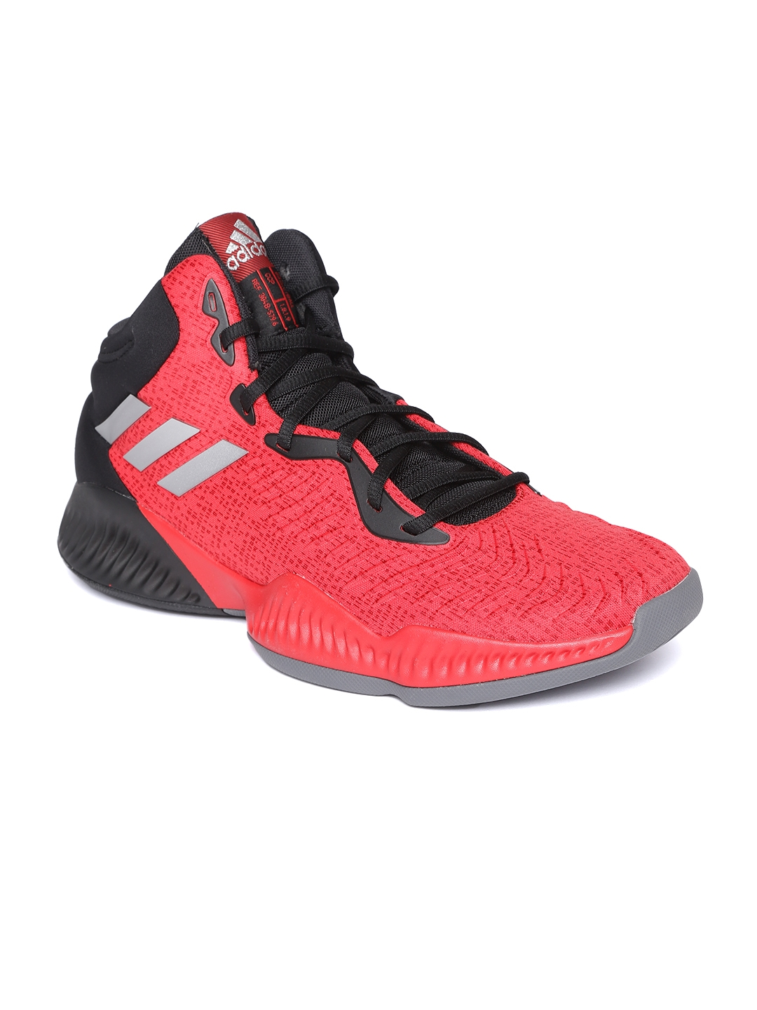 official photos d79f0 9a92e ADIDAS Men Red   Black Mad Bounce 2018 Mid-Top Basketball Shoes