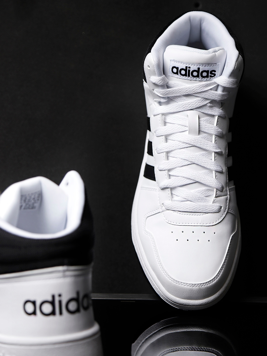 Buy ADIDAS Men White Hoops 2.0 Mid Top Basketball Shoes - Sports ... a2cd039ed146