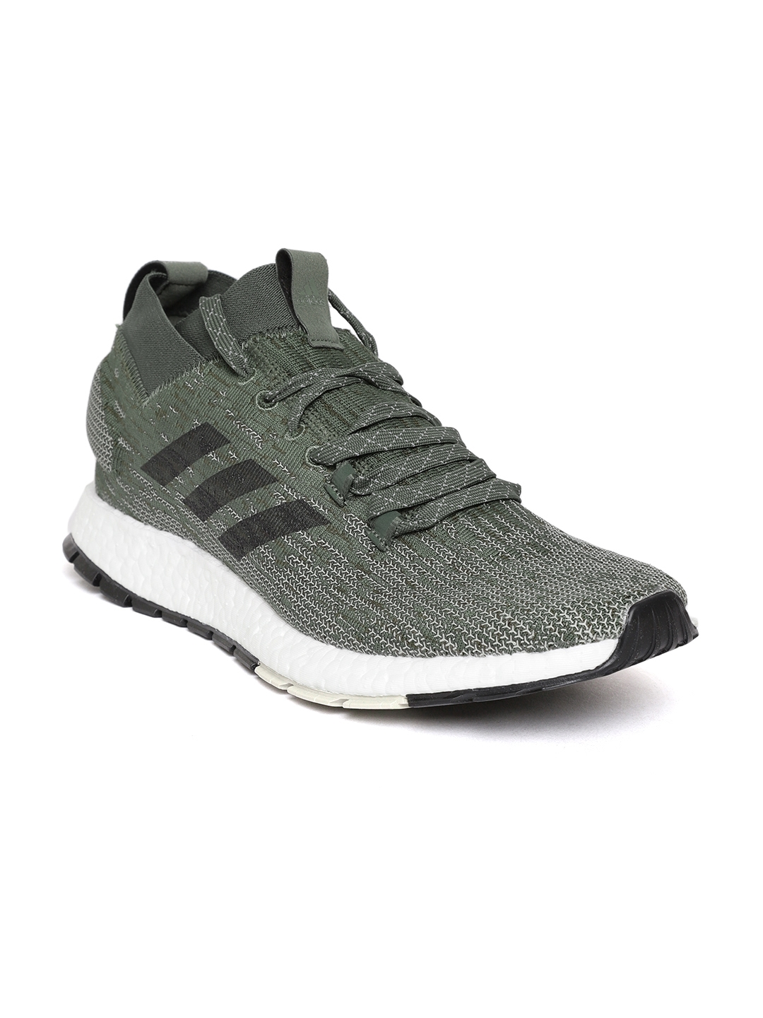 854f08827b63f ADIDAS Men Olive Green   Off-White Pureboost RBL Woven Design Running Shoes