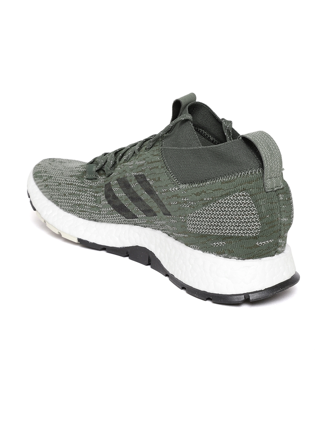 dbad4d6f2 ADIDAS Men Olive Green   Off-White Pureboost RBL Woven Design Running Shoes