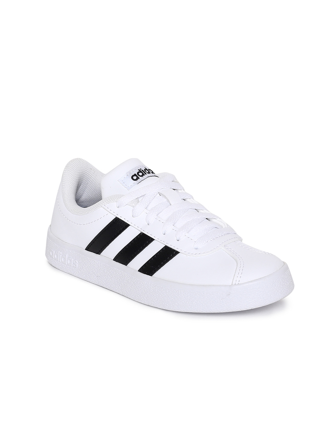 Buy ADIDAS Kids White Solid VL COURT 2.0 K Tennis Shoes - Casual ... 23fb172283bb