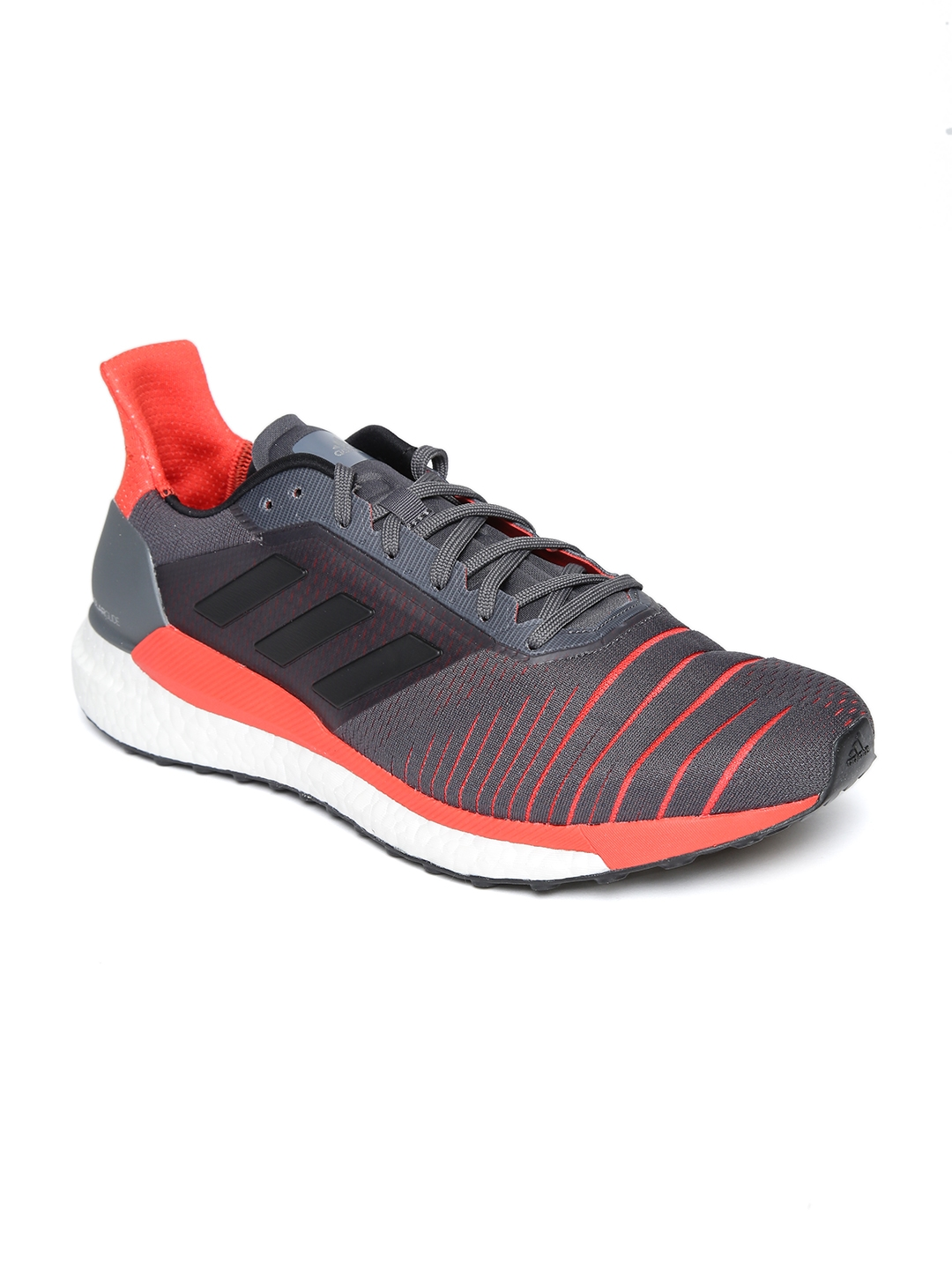 b34ac4436 Buy ADIDAS Men Charcoal Grey   Coral Pink Solar Glide Running Shoes ...