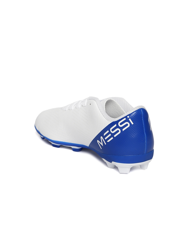 7399bc9ff Buy ADIDAS Boys White   Blue Nemeziz Messi 18.4 FXG Football Shoes ...