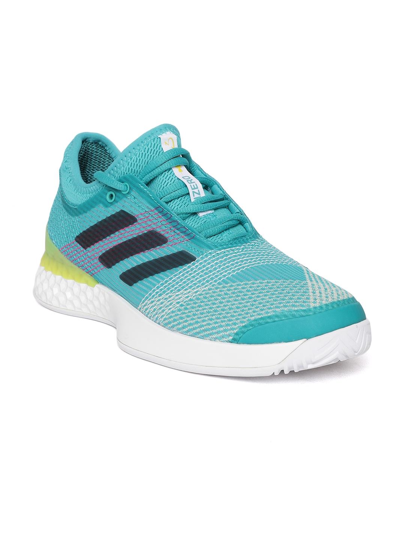 18a84c69878312 Buy ADIDAS Men Green   Off White ADIZERO Ubersonic 3 Tennis Shoes ...