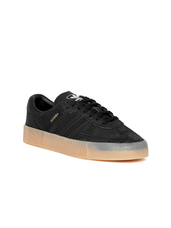 81ee75abdaa Adidas Originals Women Black SAMBAROSE Snakeskin Texture Suede Flatforms