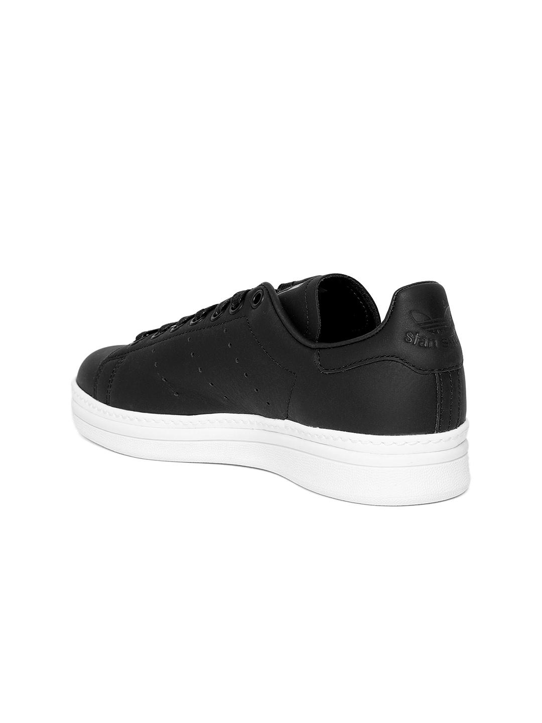 uk availability 9296c eb1d4 Adidas Originals Women Black Stan Smith New Bold Leather Sneakers