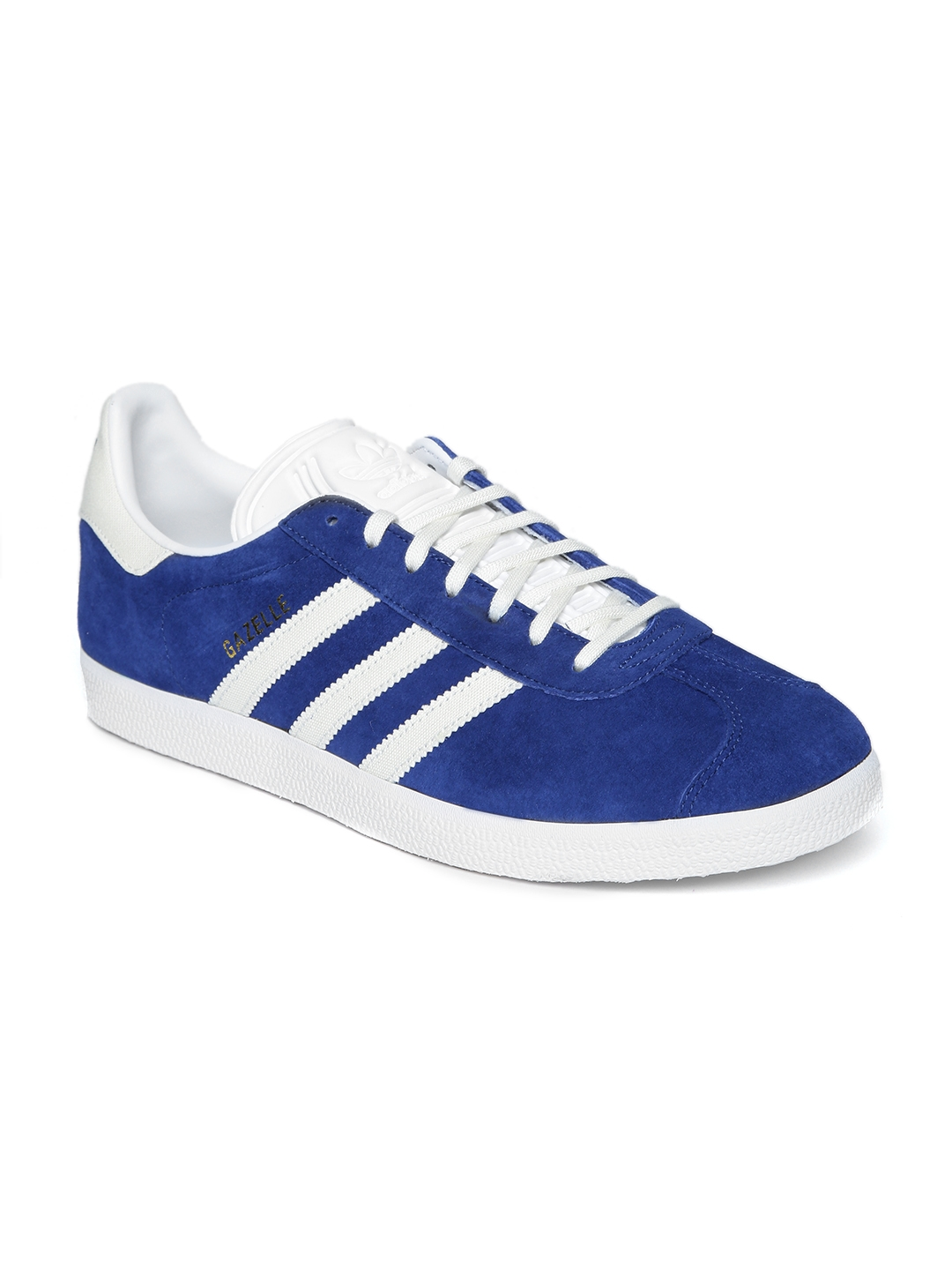 Buy ADIDAS Originals Men Blue   White Gazelle Suede Sneakers ... 3c9627a1e