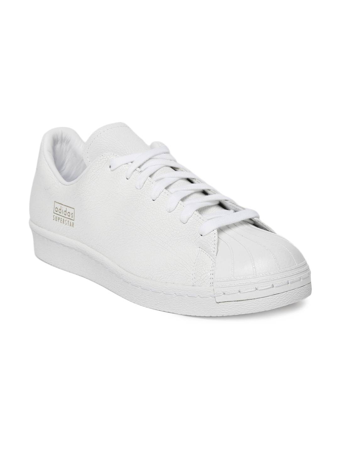 hot sale online 81501 e6cd9 ADIDAS Originals Men White SUPERSTAR 80S CLEAN Leather Sneakers