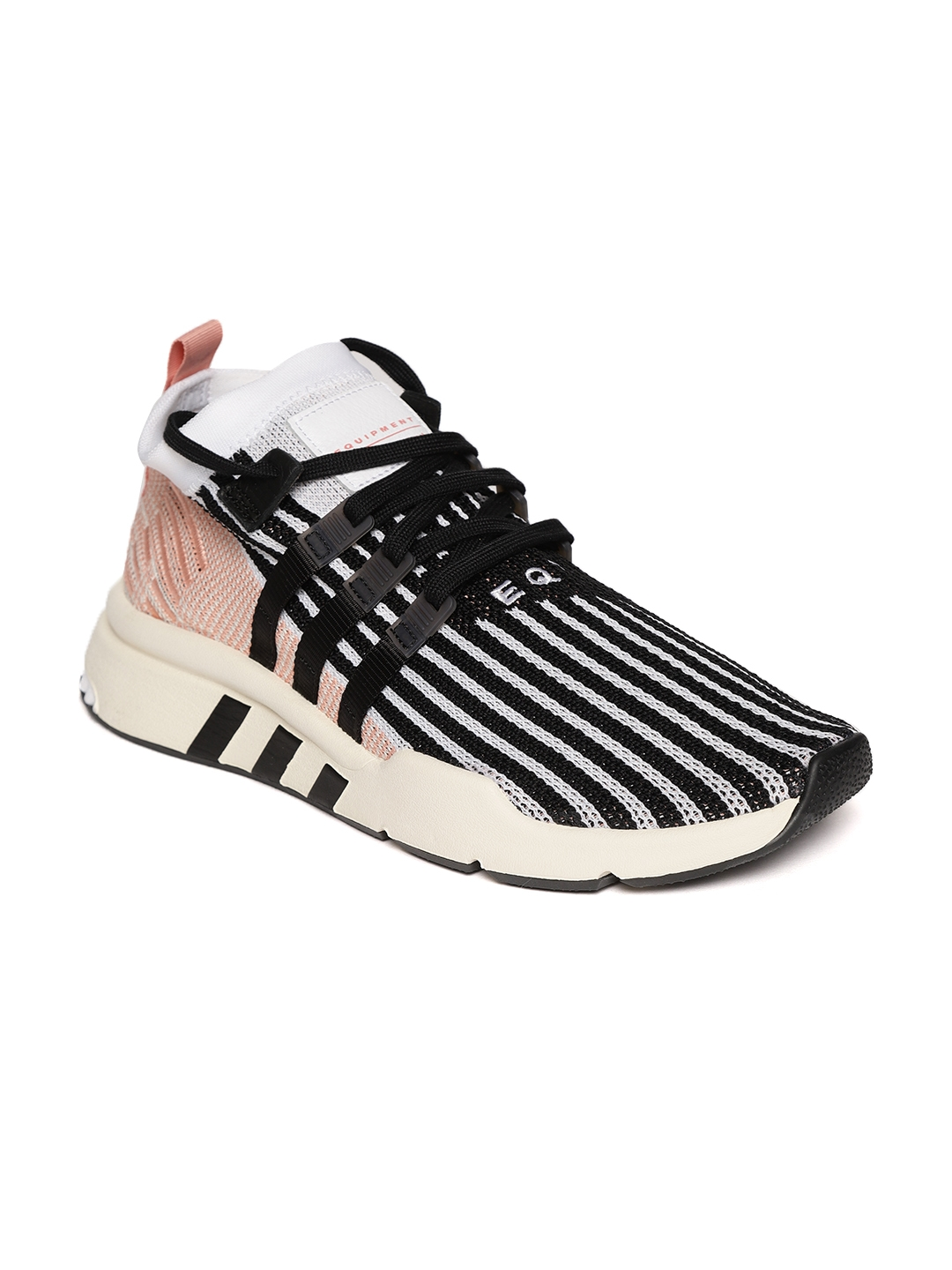cheap for discount a1430 89ff5 Adidas Originals Men Black   White EQT Support Mid ADV PK Striped Sneakers