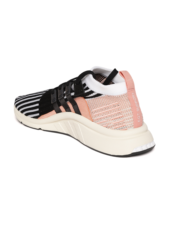finest selection 261f9 27058 Adidas Originals Men Black  White EQT Support Mid ADV PK Striped Sneakers