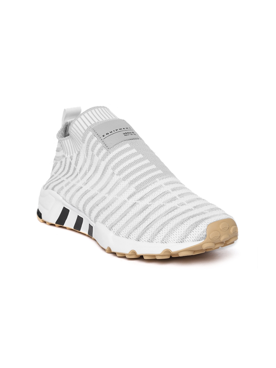 detailed look fe2dd e8cf2 ADIDAS Originals Women White & Grey EQT Support SK Primeknit Slip-On  Sneakers