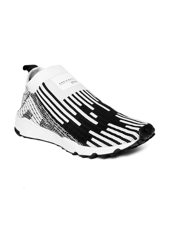 hot sale online e70f1 f337d ADIDAS Originals Men White & Black EQT Support SK PK Patterned Sneakers