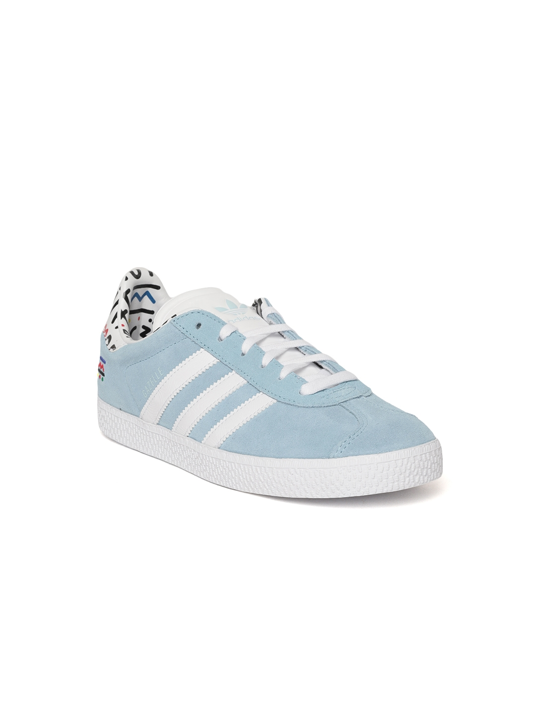 finest selection 8a7e1 577e6 Adidas Originals Kids Blue Gazelle J Suede Sneakers