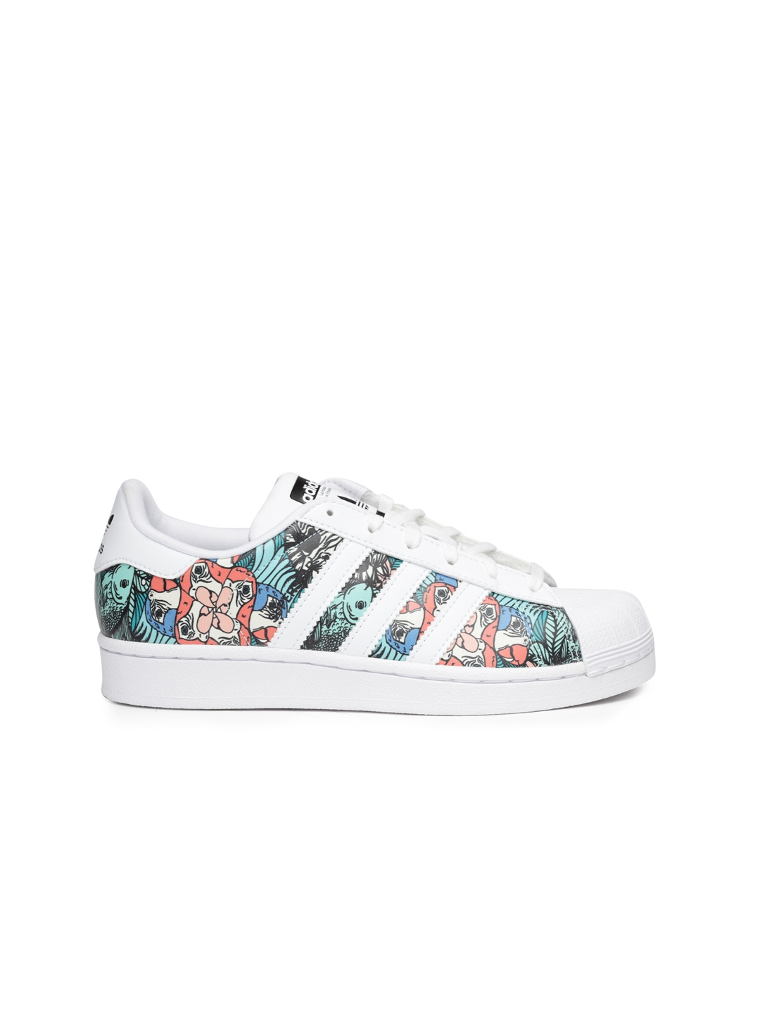 5df251c64d60 Adidas Originals Kids White   Sea Green Superstar J Printed Sneakers