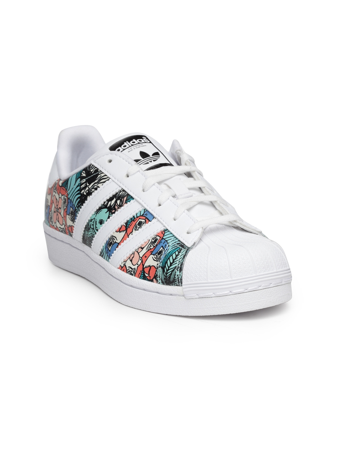 huge selection of cdcd3 f6313 Adidas Originals Kids White   Sea Green Superstar J Printed Sneakers