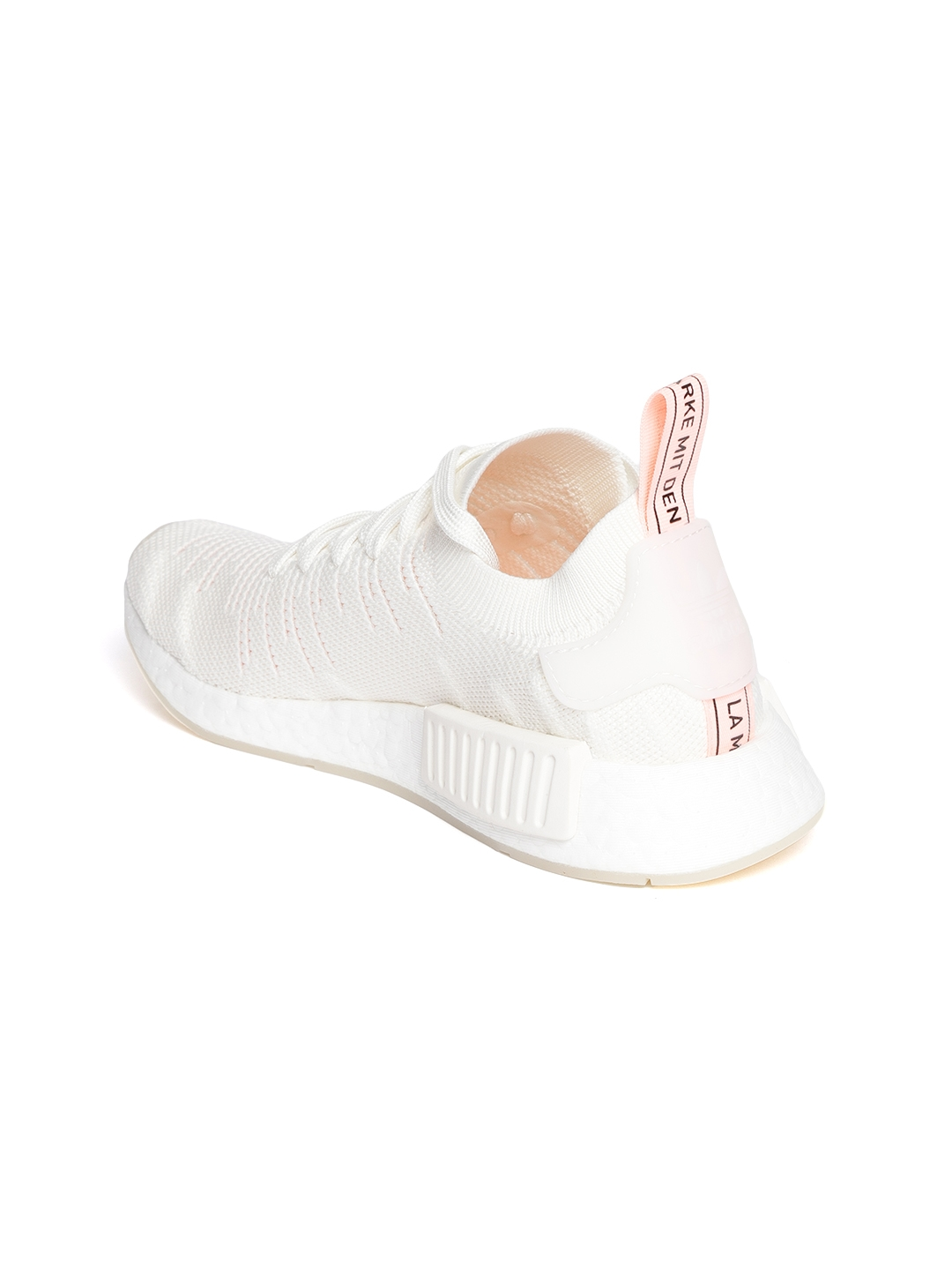 new style 3309d cd496 ADIDAS Originals Women Off-White NMDR1 STLT Primeknit Sneakers