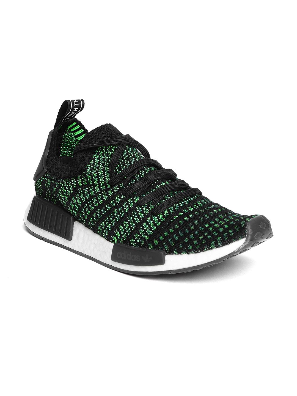 ADIDAS Originals Men Black   Green NMD R1 STLT Primeknit Sneakers 3ee00384e376e
