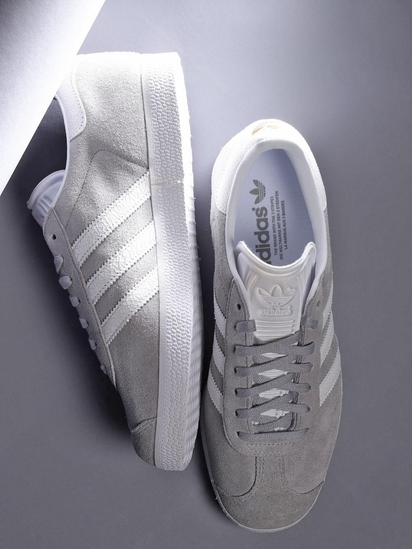 official photos ecd05 cdebf ADIDAS Originals Women Grey Leather Gazelle Sneakers
