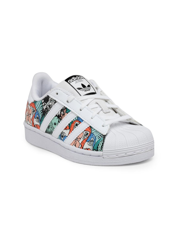 3e5a5cd74633 Buy ADIDAS Originals Kids White   Green Superstar C Printed Sneakers ...
