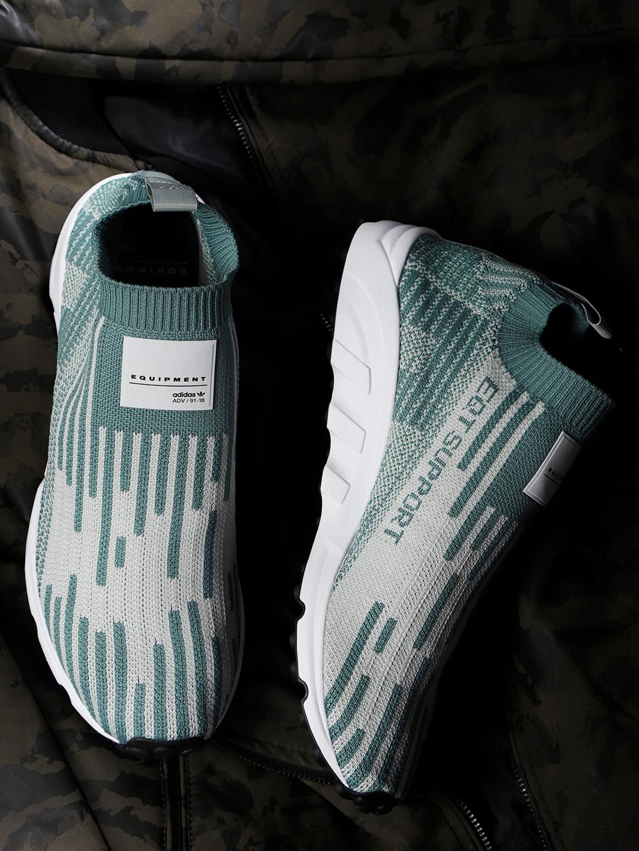 ADIDAS Originals Men Green   Grey EQT Support Sock Primeknit Slip-On  Sneakers adf58e917fe