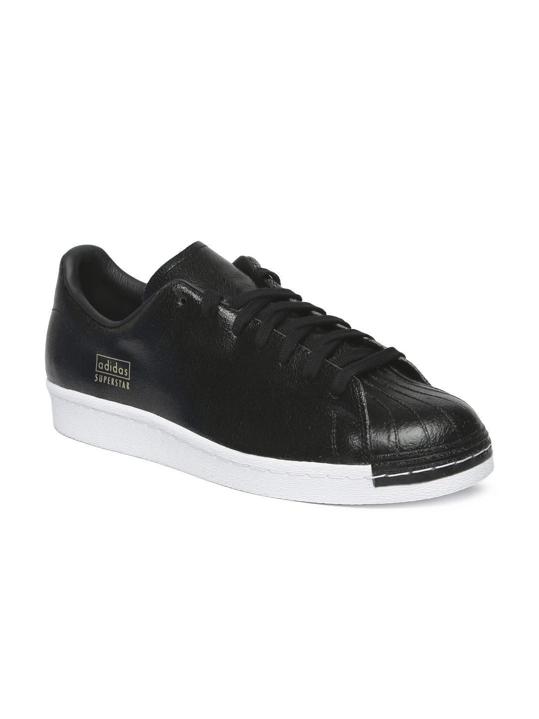 43bb53f04 Buy ADIDAS Originals Men Black SUPERSTAR 80S CLEAN Leather Sneakers ...