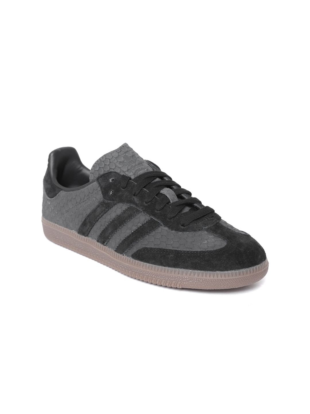 547d053ca52c0a ADIDAS Originals Women Charcoal Grey   Black Snake Skin Textured Samba OG  Sneakers