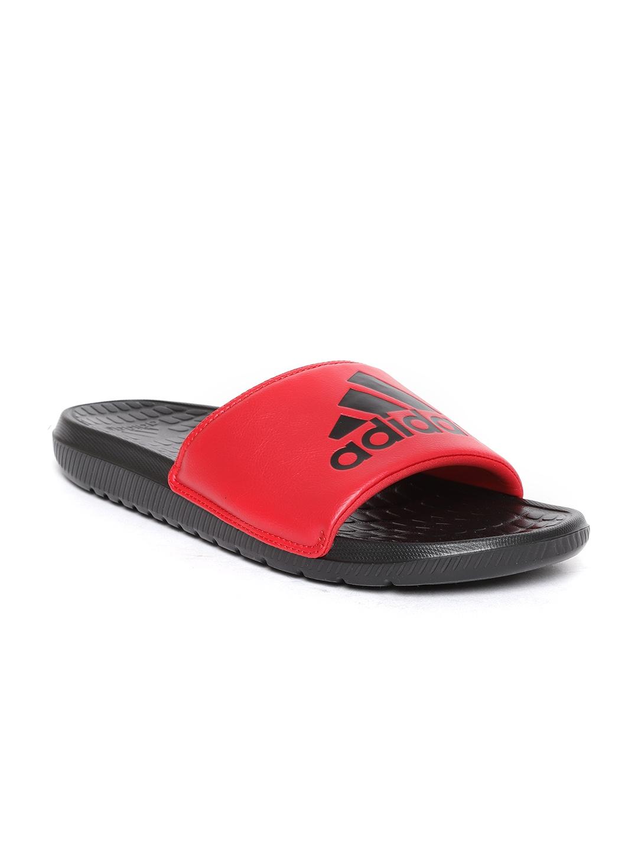 4b872ab4b1373 Buy ADIDAS Men Red   Black VOLOOMIX Printed Sliders - Flip Flops for ...