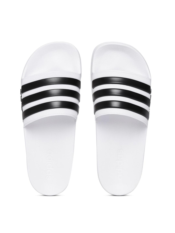 7fdd7e18ce46 Buy ADIDAS Men White   Black Adilette Shower Striped Sliders - Flip ...