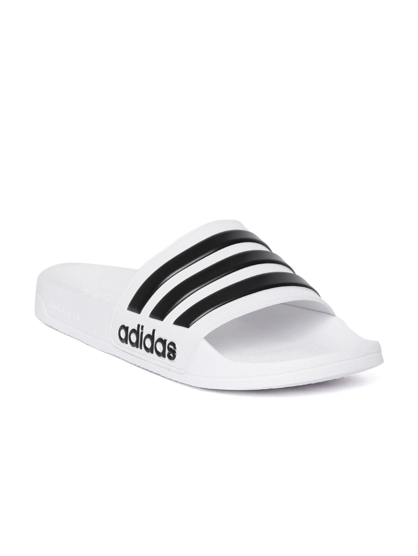 9eda8bbba Buy ADIDAS Men White   Black Adilette Shower Striped Sliders - Flip ...