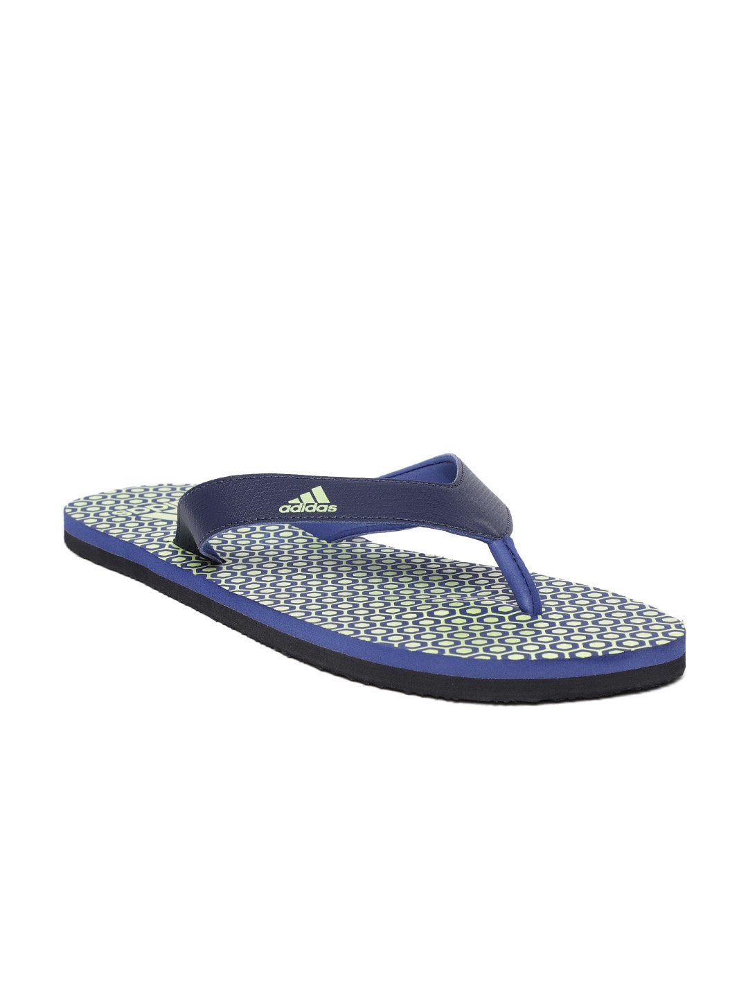 7823100d58429 Buy ADIDAS Men Navy Blue   Green BEACH PRINT MAXOUT Thong Flip Flops ...