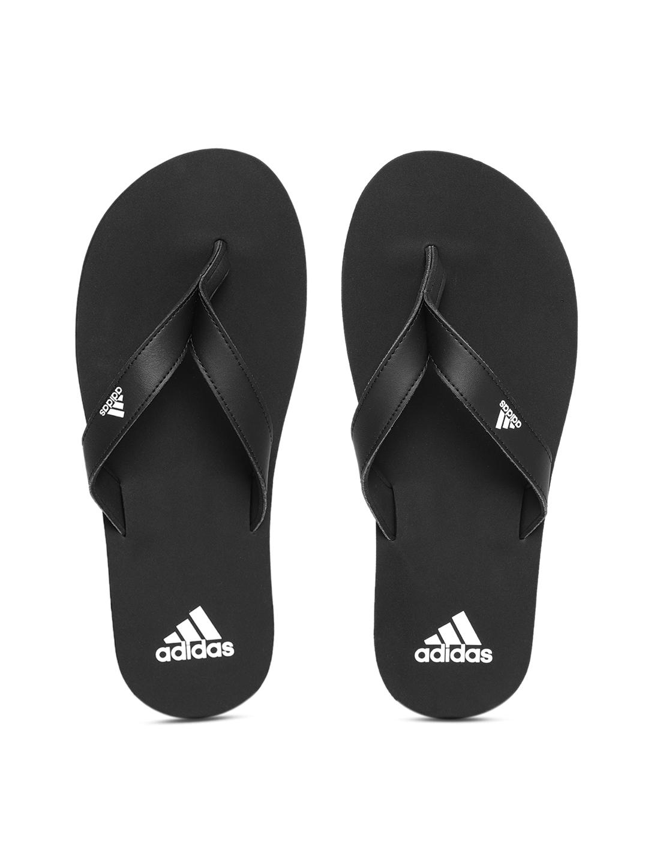 super popular c64da 7b9f4 Adidas Men Black EEZAY Solid Thong Flip-Flops