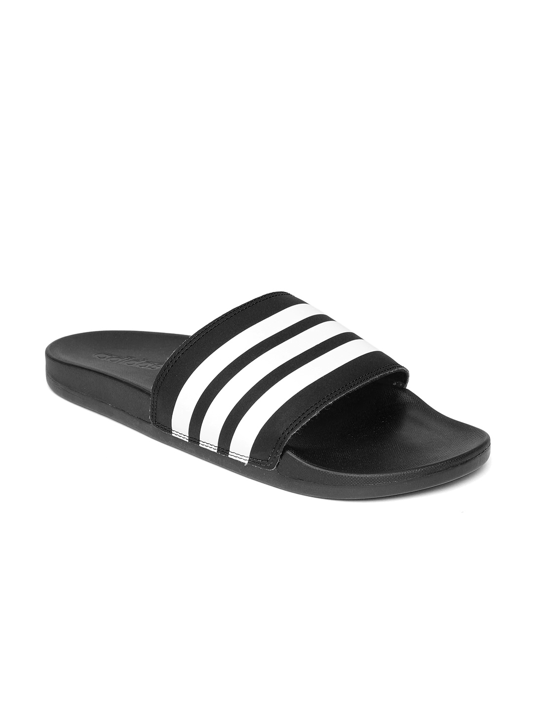 newest collection ca155 e1904 ADIDAS Women Black  White ADILETTE Comfort Striped Sliders