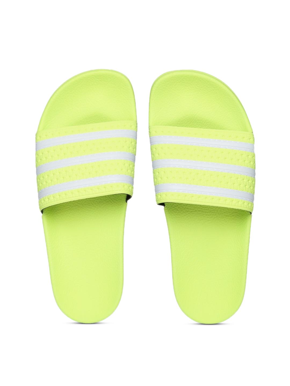 3ceb71bfc430cc ADIDAS Originals Men Fluorescent Green   Off-White Adilette Striped Sliders
