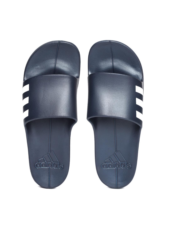27e30a74f8e5 Buy ADIDAS Men Navy Blue Aqualette Solid Sliders - Flip Flops for ...
