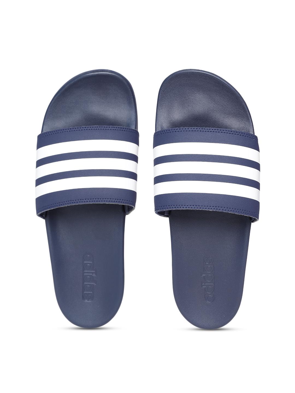 4eaca18b2645 Buy ADIDAS Men Navy Blue   White Adilette Comfort Striped Sliders ...