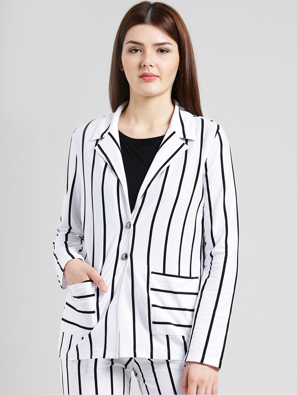 66d218f7b2d92 Texco Women White   Black Striped Slim Fit Single-Breasted Formal Blazer