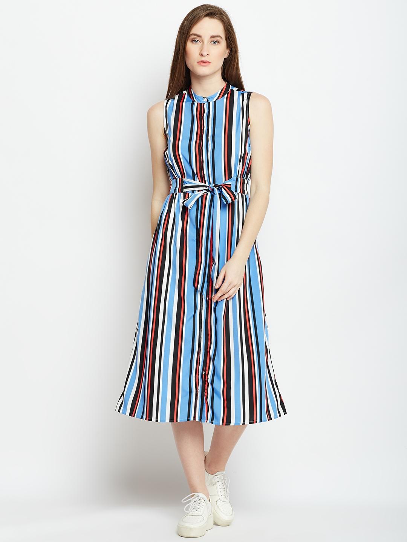 9be420c16 Buy Oxolloxo Women Multicoloured Striped Shirt Dress - Dresses for ...