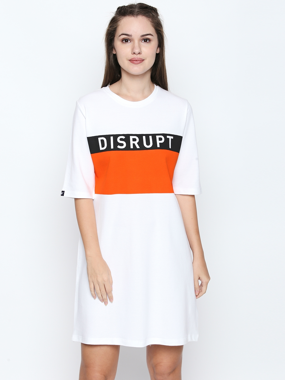 3b2d02518df Buy Disrupt Women White Printed T Shirt Dress - Dresses for Women ...