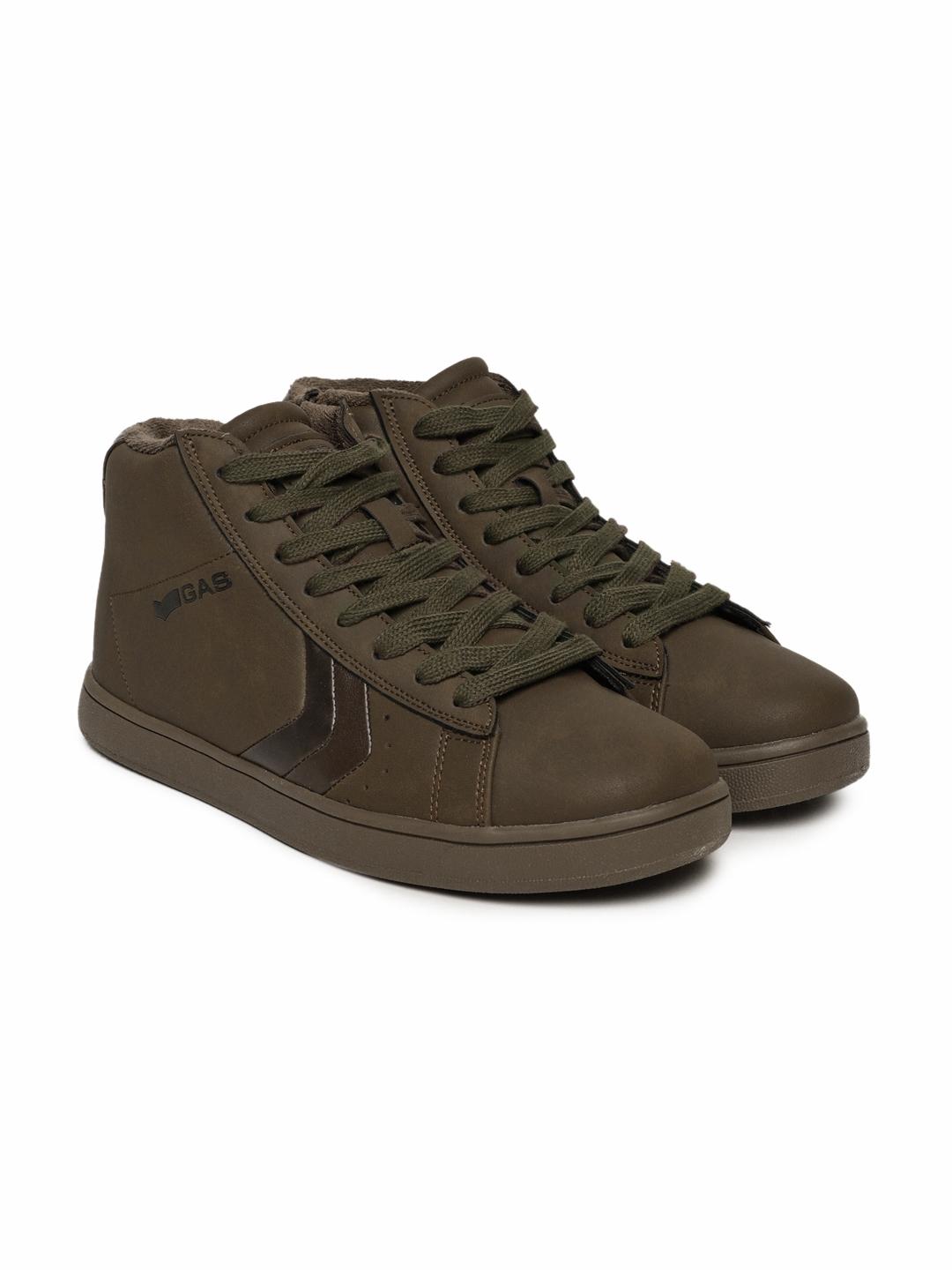 626222c31450a Buy GAS Men Brown Solid Jeremy NBX Mid Top Sneakers - Casual Shoes ...