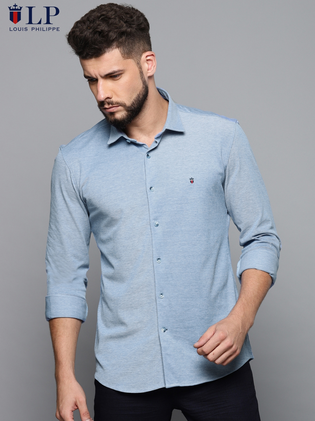 823a7f5a30ce27 Buy Louis Philippe Sport Men Blue Super Slim Fit Solid Casual Shirt ...