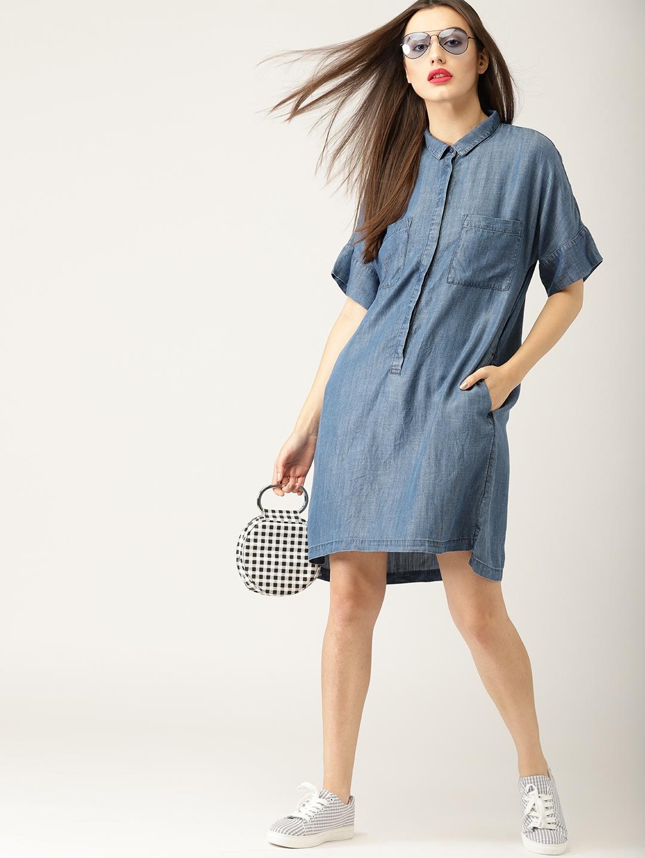Buy ESPRIT Women Blue Solid Chambray Shirt Dress - Dresses for Women ... 6ea74006804a3