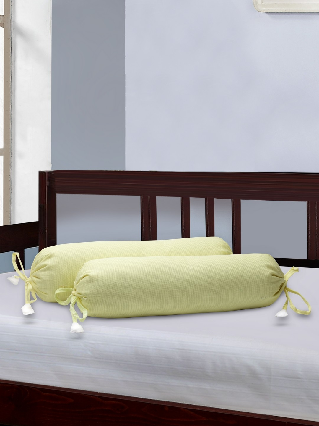 THE BABY ATELIER Kids Set of 2 Yellow 39.4 cm x 21.8 cm Cylindrical Bolster Covers