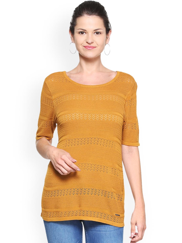 bd021df0167851 Buy Van Heusen Woman Women Mustard Self Design Top - Tops for Women ...