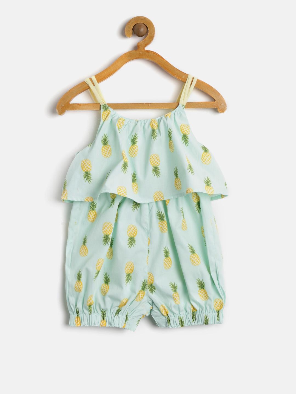 137b45433ed Buy Nauti Nati Girls Sea Green   Yellow Printed Playsuit - Jumpsuit ...
