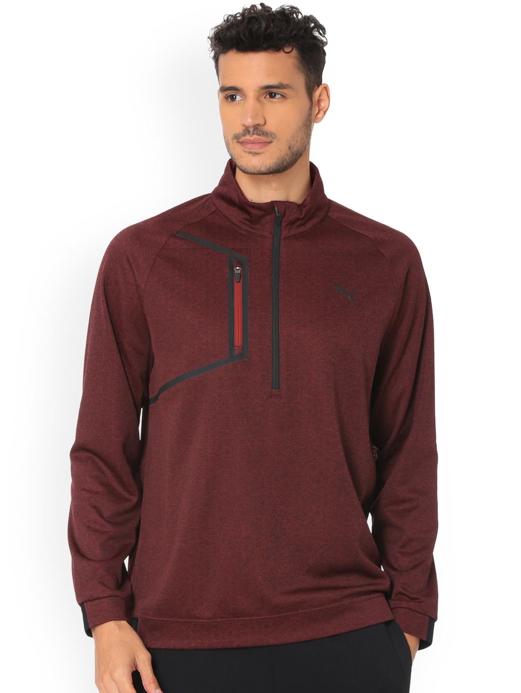 d799e2e51 Buy Puma Men Burgundy Solid Envoy 1/4 Zip Sweatshirt - Sweatshirts ...