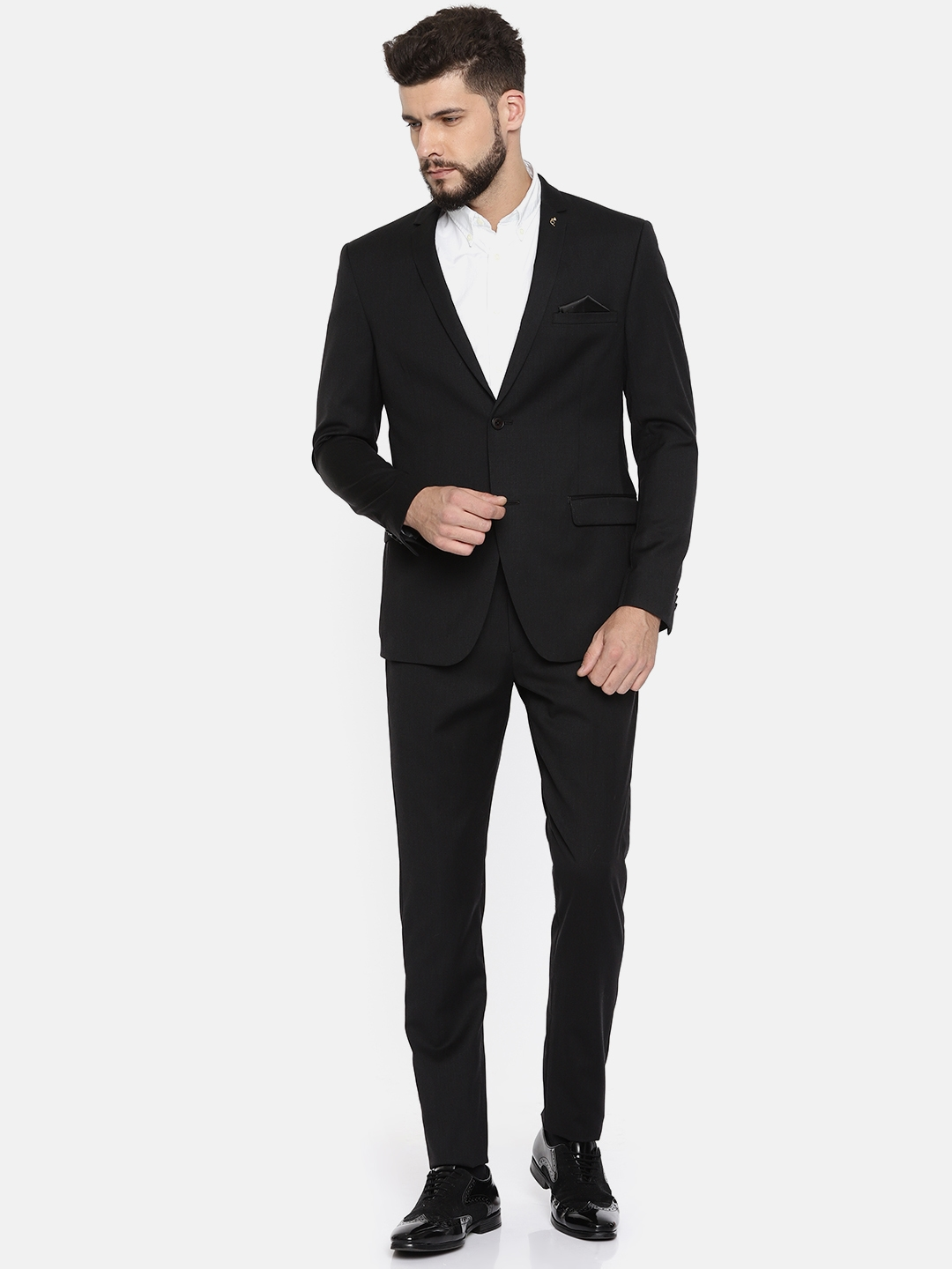 99c19dc8813 Buy Theme Black Woollen Single Breasted Tailored Fit Formal Suit ...